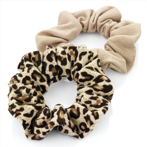 Brown Animal Print Jersey Hair Scrunchies Bobbles